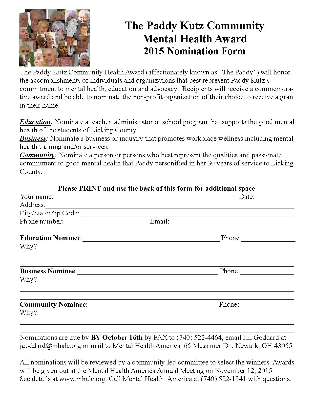 The Paddy Nomination Form 2015
